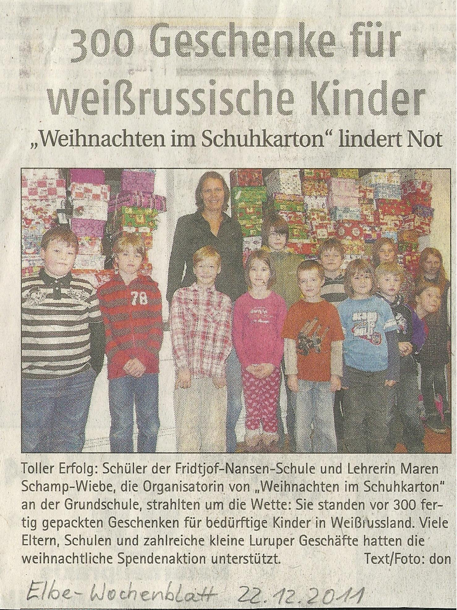 Projektzeit Kinder der Welt und Aktion Weihnachten im Schuhkarton ...